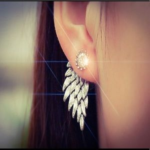 Sterling Silver Gothic Angel Wing Earrings